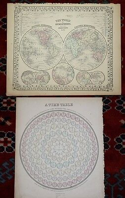 The World in Hemispheres Time Table Original Antique 1870 Mitchell's Atlas Map