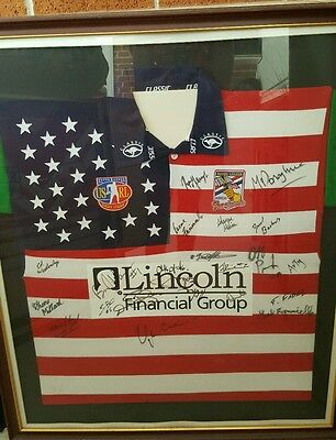 framed autographed united states rugby league jersey
