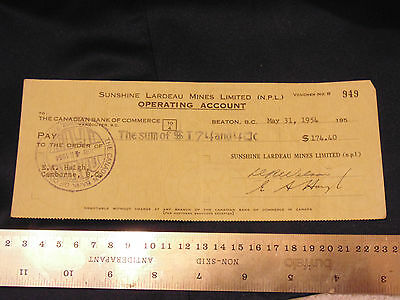 1954 Sunshine Lardeau Mines Limited to Canadian Bank of Commerce Vancouver $174