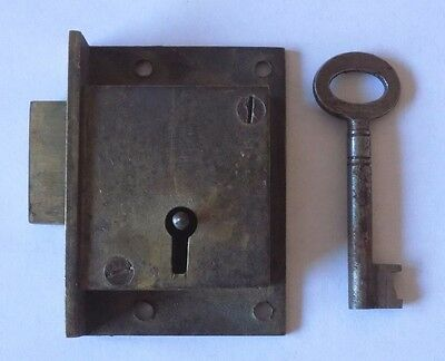 Vintage Brass Cabinet Lock with Key