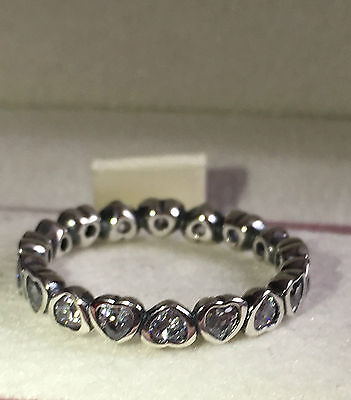 Pandora Sparkling Heart Stackin Ring ,190897Cz S925 Ale, Size 52 Sterling Silver