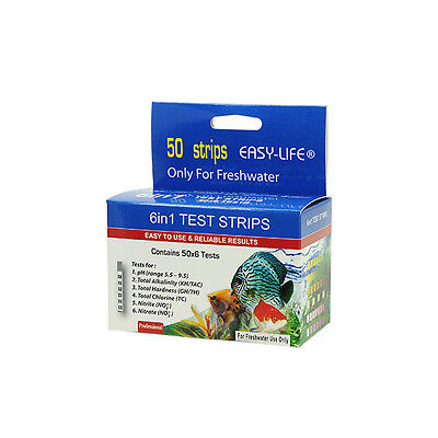 Pack of 50 x Easy-Life Freshwater Test Strips (6 in 1 - pH, KH, GH, Cl, NO2 NO3)