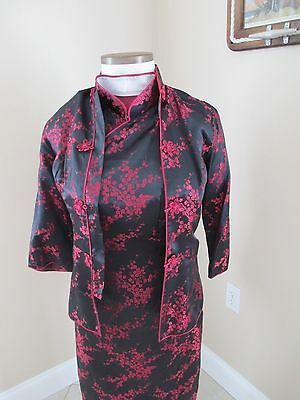 Vintage Asian Dress size S, black and red,  Cheongsam silk