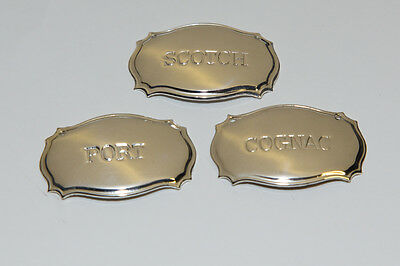 3 silver plated decanter labels