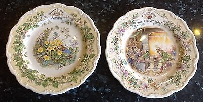 """Two large 8"""" Royal Doulton Brambly Hedge Four season/Great Hall plates."""