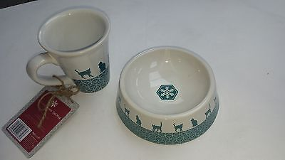 Festive Cat Bowl And Mug, Pet and Owner Dining Set RRP £12.00