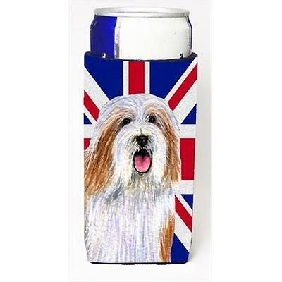 Bearded Collie With English Union Jack British Flag Michelob Ultra bottle sle...