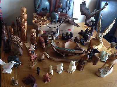 carved wooden animals