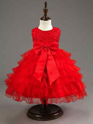 Baby Girls Flower Christmas Party Birthday Tutu Princess With Large Bow Dresses