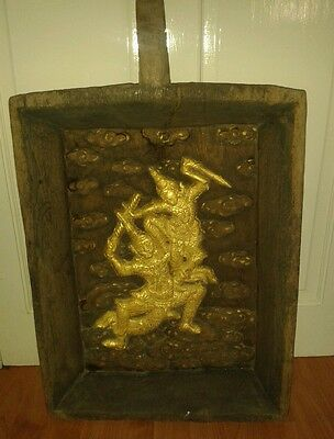 Antique  hand carved wooden wall hanging