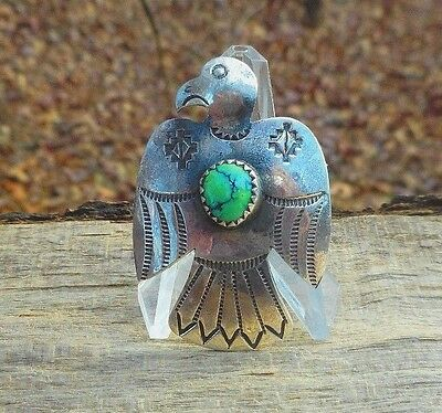 Vintage Sterling Silver Turquoise Thunderbird Pin Brooch Southwest handmade