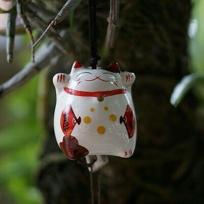 Japanese Traditional Lucky Cat Charm ManekiNeko Wind Bell Beckoning Ceramic Gift