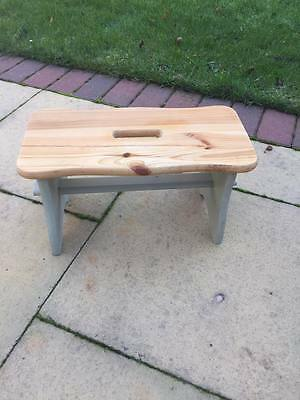 Small pine wood stool. Shabby chic, french country.