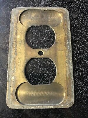 Solid Brass Wall Outlet Cover Plate Vintage Electric