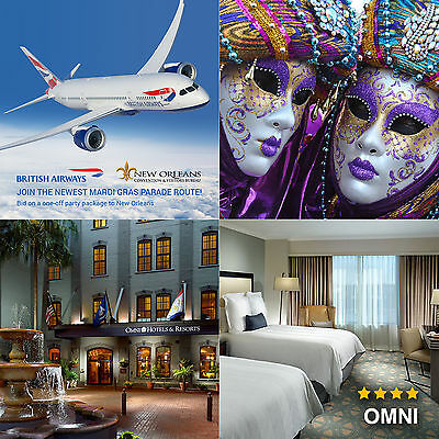 BA New Orleans Mardi Gras package for two: flights & 3 nights at 4*Omni