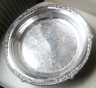 """Large 12½"""" Ornate Footed Silver Plated Fruit/cake Bowl-Viners"""