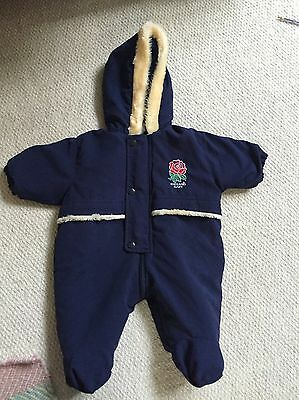 England Rugby Blue Snowsuit 3-6 Months