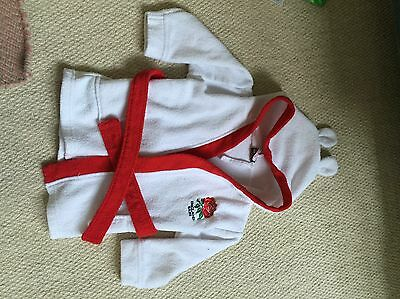 England Rugby Boys White Dressing Gown 6/12 Months