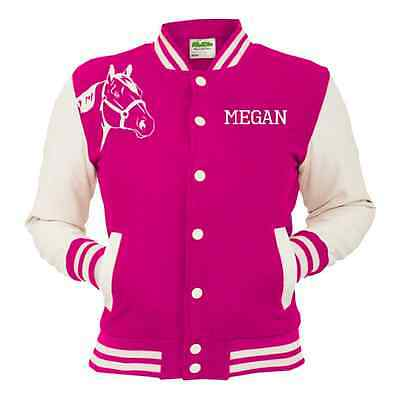 Horse Riding Personalised Varsity Jacket Sweat Hot Pink White Adults & Childrens