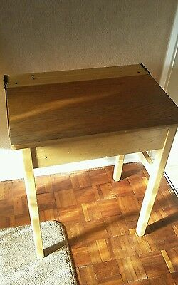 Old Vintage Style Wooden Childs Working Writing Desk Table Opening
