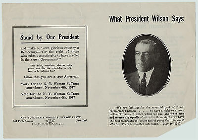 RARE Pamphlet 1917 Woodrow Wilson - Woman Suffrage Right to Vote - Unfolded