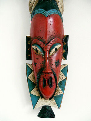 Vintage Guro Baule West African Hand Carved Wood Large Wall Tribal Bird Red Mask