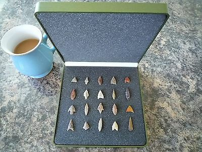 20 x Quality Miniature Neolithic Arrowheads in Display Case - 4000BC - (P012)