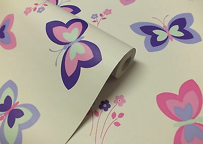 AUCTION FOR 3 ROLLS OF Butterfly and Flowers Wallpaper
