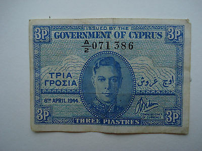Cyprus 3 Piastres Banknote Dated 6 April 1944