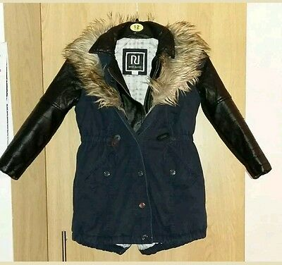 Girls age 8 river island coat faux fur with hood leather look