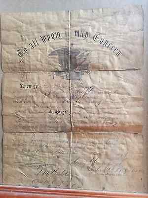 Civil War Discharge Papers, Union solider Delaware, July 1865  RARE!!!