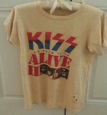 Vintage Kiss Alive II Concert T-Shirt 1977-1978 Size S-Madison Square Garden NYC