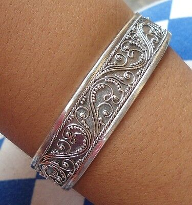 925 Solid Silver-Balinese Full HandCarved Bangle -200H