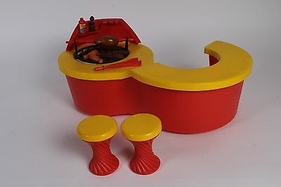 Vintage Sindy BBQ - Red counter spit roast chicken,  stools