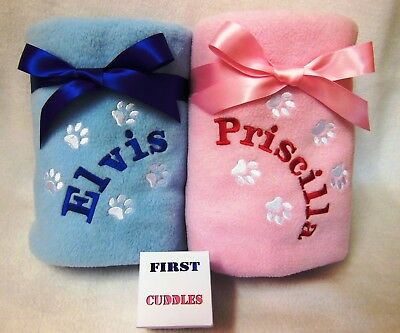 Personalised Embroidered Dog/cat Blanket With Your Pets Name Lots Of Colours