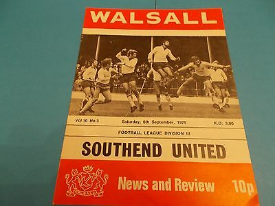 1975-76 Walsall v Southend united division 3