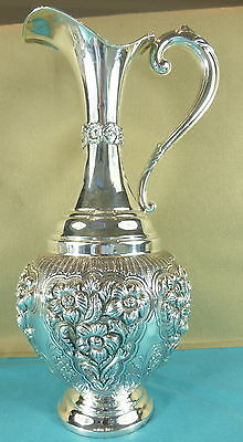 Hand Made Italian Sterling Silver Wine Jug Ewer Chased Leaves Flowers C1970