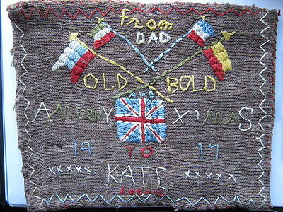 1917 WWI Trench Art Cross stitch soldiers Christmas gift to Daughter