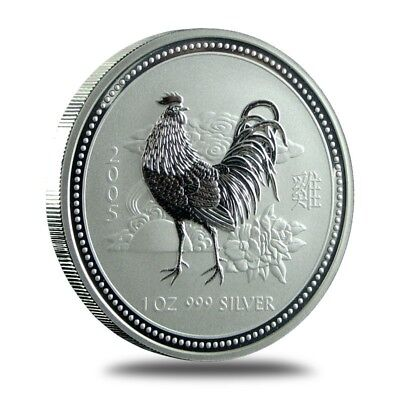 Australia 1 Dollar 2005 Year Of The Rooster 999 Silber Onza Oz Lunar Series
