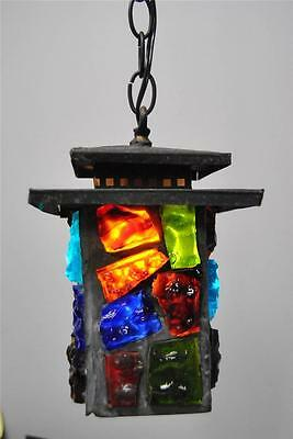 Vintage Asian Style Single Socket Porch Entry Ceiling Light Chunk Colored Glass