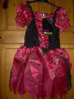 Little Girls Creepy Spider Costume Red/black  -Ages  5/6 & 7/8 Years