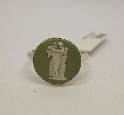 rare sterling silver antique vintage green Wedgwood cameo dress ring stamped