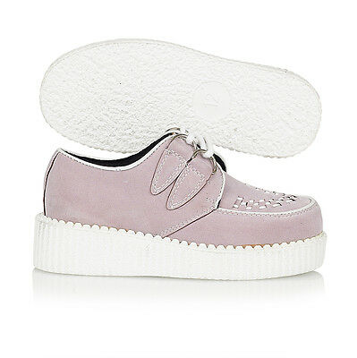 Kids Girls Stitch Trim Lace Up Creepers Lilac Suede Shoe Size UK 13