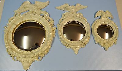 3 Vtg & Antique Homco (1945) & Dart (1959) Federal Eagle Convex Mirrors Porthole