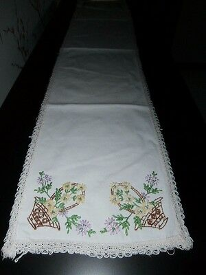 """VINTAGE WHITE COTTON with FLORAL EMBROIDERY & LACE TABLE RUNNER~ 40"""" x 9"""""""