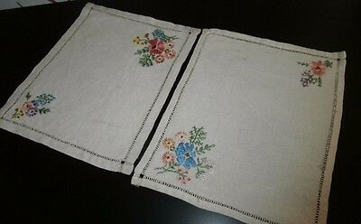 """TWO VINTAGE BEIGE IRISH LINEN with HAND WORKED EMBROIDERY TABLE MATS ~ 9"""" x 7"""""""
