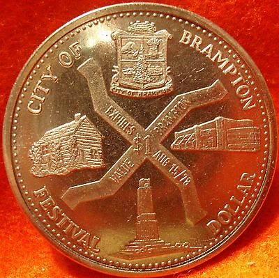 1978 Canada Trade Dollar CITY OF BRAMPTON FLOWER FESTIVAL Uncirculated