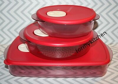 Tupperware Rock N Serve Round Microwave Container Set 3 Red New