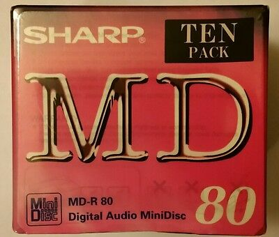 Sharp record-able mini discs  sealed pack of 10  (80 mins)