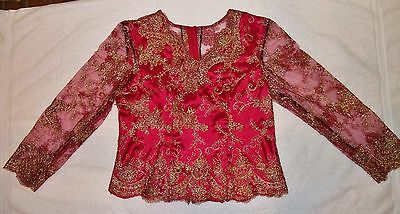 New Women's Khmer Cambodia Traditional Wedding Dark Red Shirt Long Hand Size: L.